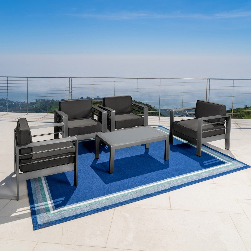 Cape Coral 5pc Aluminum Chat Set - Gray/Dark Gray - Christopher Knight Home