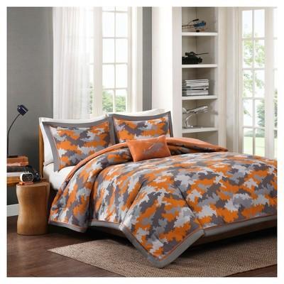 Jacob Camo Print Comforter Set - Orange