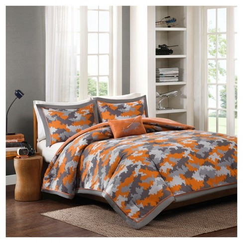 Jacob Camo Print Comforter Set Orange Target