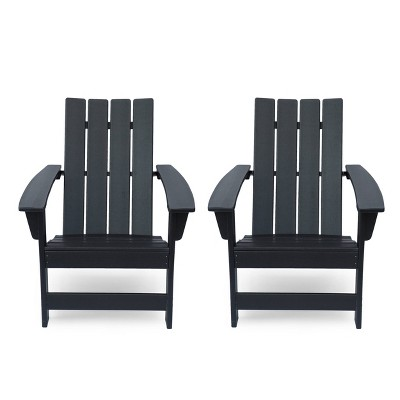 Encino 2pk Resin Contemporary Adirondack Chairs - Matte Black - Christopher Knight Home