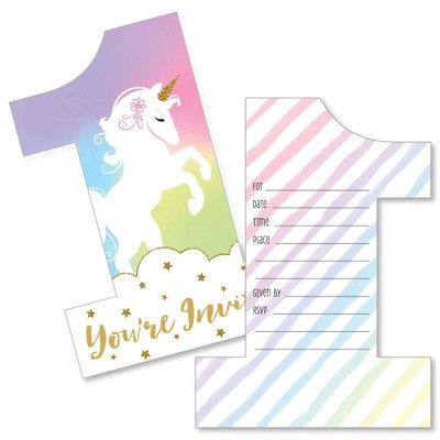Big Dot of Happiness 1st Birthday Rainbow Unicorn - Shaped Fill-in Invites - Magical First Birthday Party Invite Cards with Envelopes - Set of 12