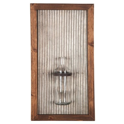19 x3.5 x10.25  Wood Glass Metal Framed Wall Vase Brown - Foreside Home & Garden