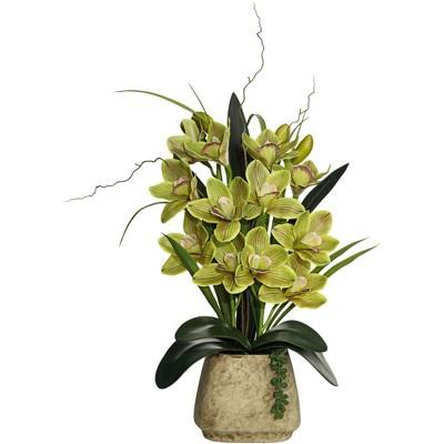 "Dahlia Studios Green Cymbidium Orchid 21 1/2"" High Faux Flowers in Pot"