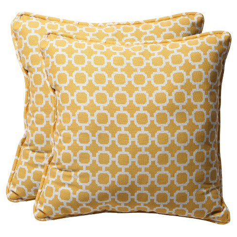 Outdoor 2 Pc Square Toss Pillow Set - Yellow/White Geometric - Pillow Perfect - image 1 of 1