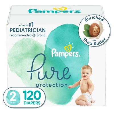 Pampers Pure Protection Disposable Diapers Enormous Pack Size 2 - 120ct