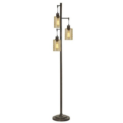 Abode 84 72-Inch Floor Lamp with 3 Glass Champagne Dimple Shades, Bronze
