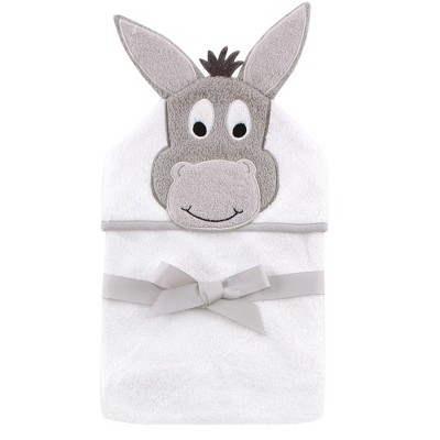 Hudson Baby Infant Cotton Animal Face Hooded Towel, Happy Donkey, One Size