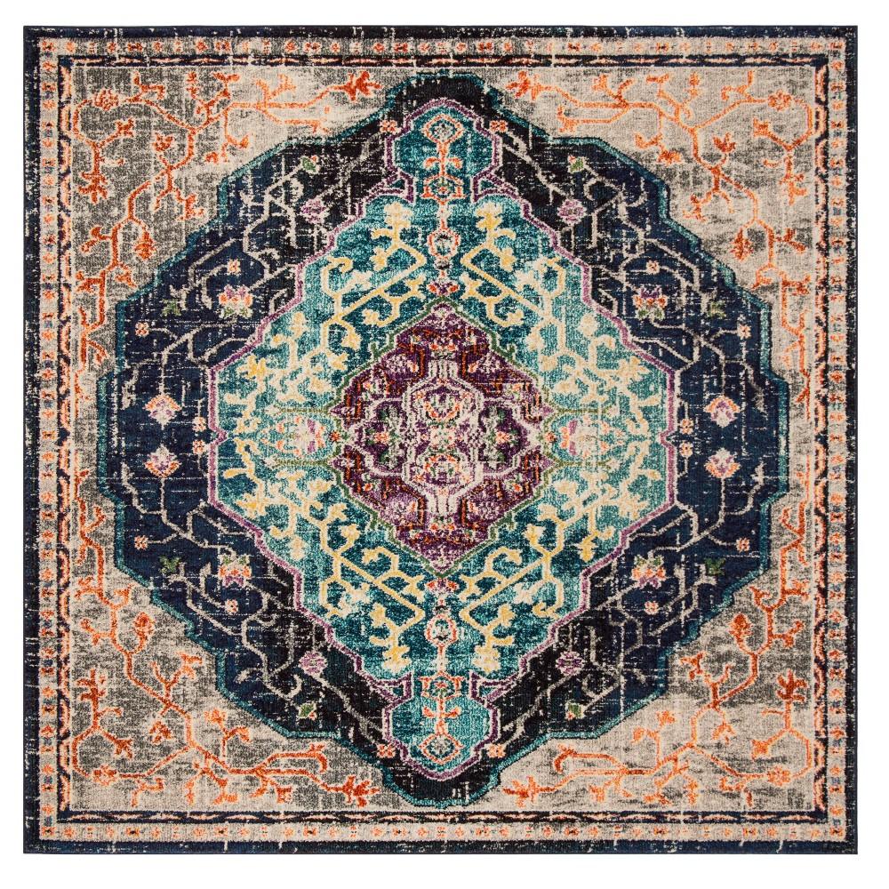 Black Blue Floral Loomed Square Area Rug 6 7 X6 7 Safavieh
