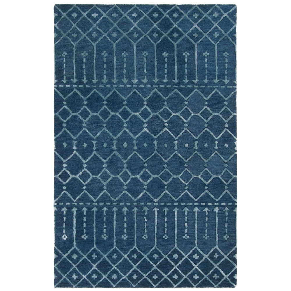 5'X8' Tribal Design Tufted Area Rug Navy/Silver (Blue/Silver) - Safavieh