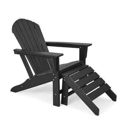 Plastic Resin Adirondack Chair with Ottoman - Black - EDYO LIVING