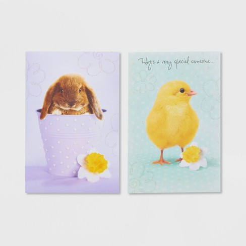 6ct Bunny And Chick Easter Greeting Cards With Glitter Target