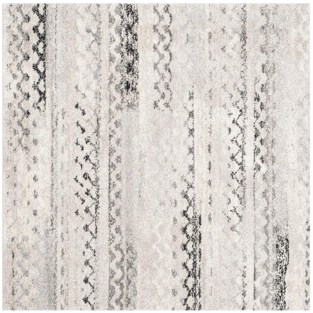 8'X8' Geometric Loomed Square Area Rug Cream/Gray - Safavieh, Beige