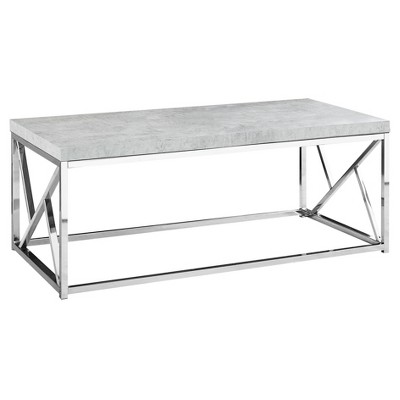 Coffee Table - Chrome Metal, Gray Cement - EveryRoom