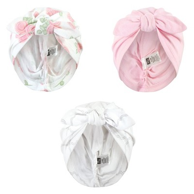 Hudson Baby Baby Girl Turban Cotton Headwraps, Rose, One Size