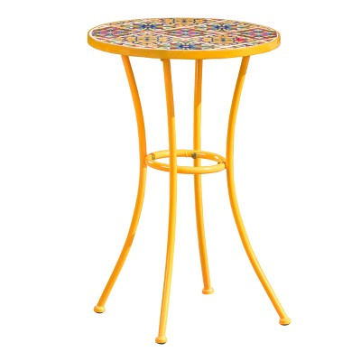 Barnsfield Ceramic Tile Side Table - Yellow - Christopher Knight Home
