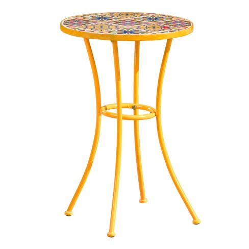 Barnsfield Ceramic Tile Side Table - Yellow - Christopher Knight Home - image 1 of 4
