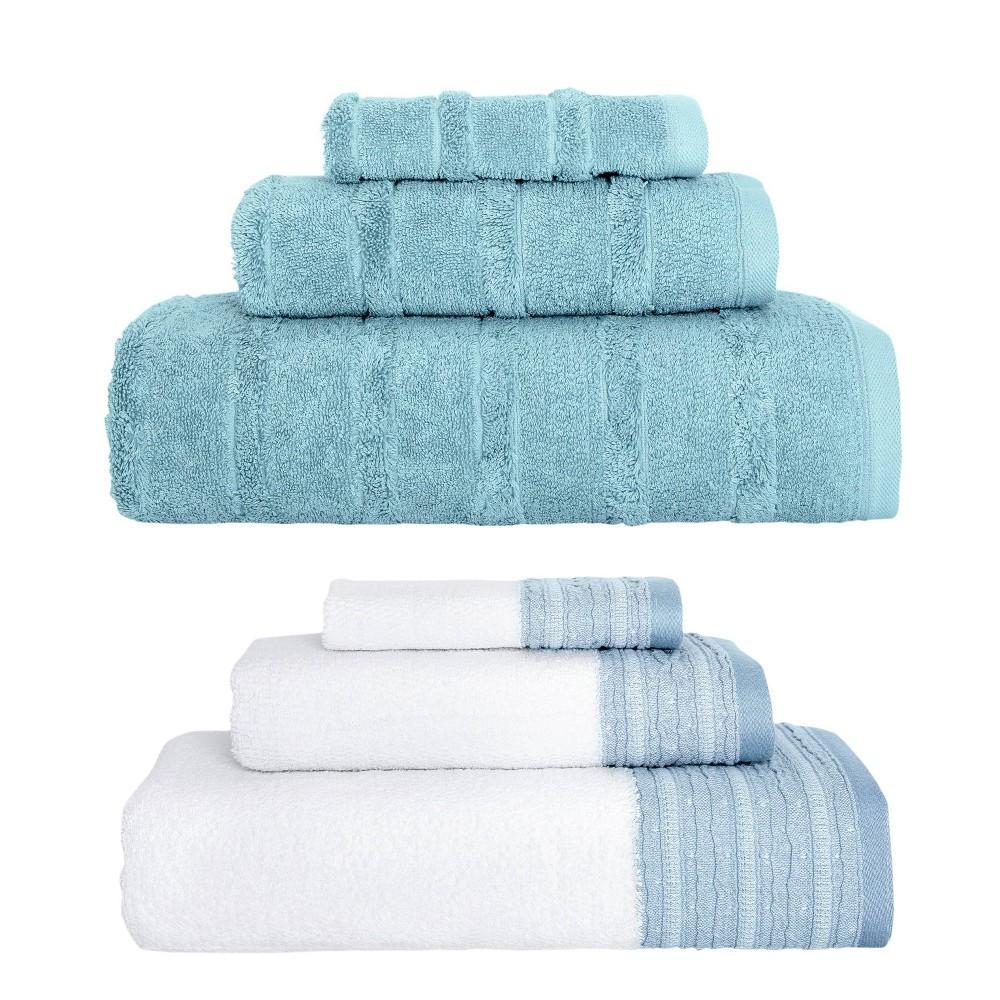 Image of 6pc Luxury Fancy Towel Bundle Set White/Blue - Royal Turkish Towels