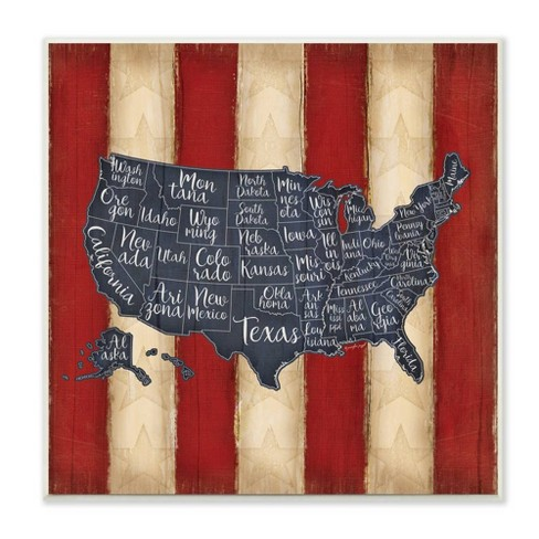 """12""""x1.5""""x12"""" United States Map Red White Blue Wall Plaque Art. Stupell Industries - image 1 of 1"""