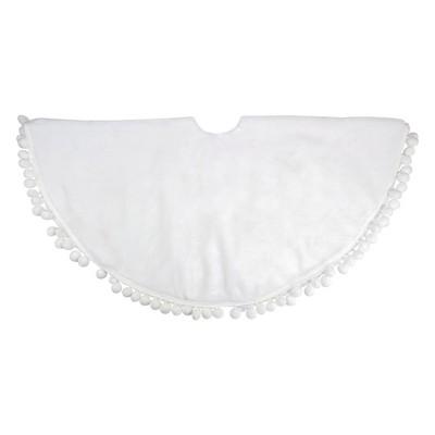 """Northlight 48"""" White Christmas Tree Skirt With a Pom Pom Border"""