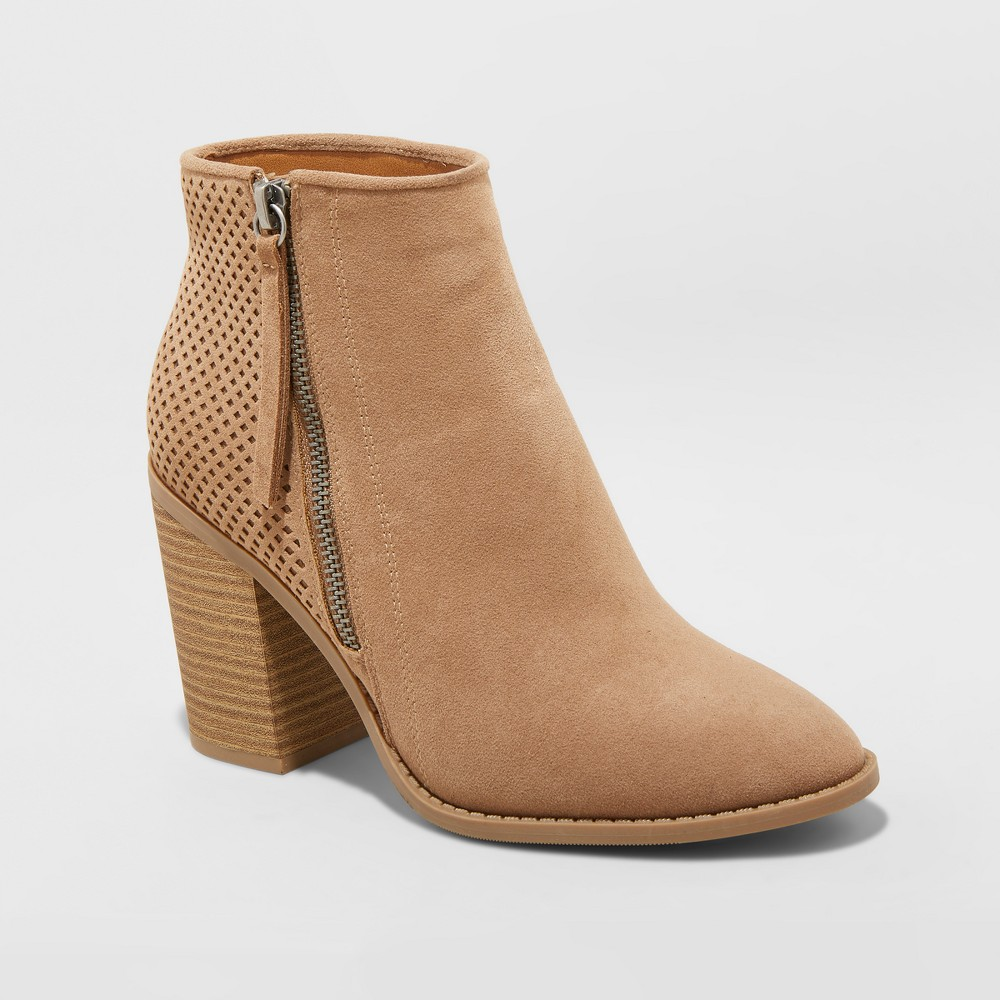 Women's Crissy Laser Cut Heeled Ankle Booties - Universal Thread Taupe (Brown) 5.5