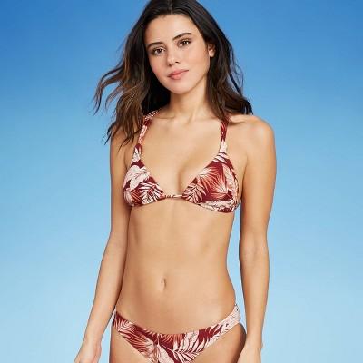 Juniors' Triangle Bikini Top - Xhilaration™ Clay Tropical Print