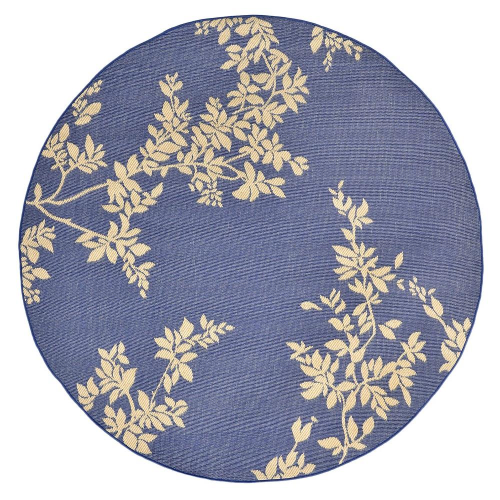 Terrace Indoor/Outdoor Vine Marine Round Rug 7'10 Blue - Liora Manne