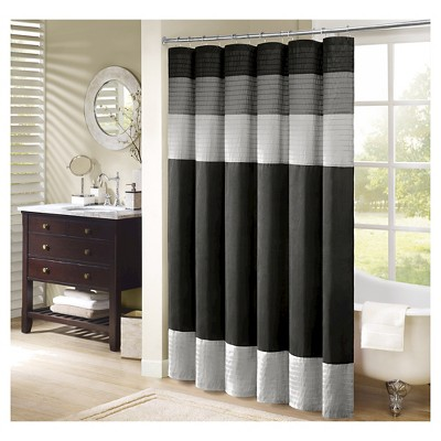 Salem Solid Pieced Polyester Shower Curtain w/ Pintucking -Black