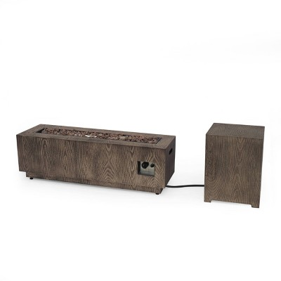 """Wellington 48"""" Rectangular Iron Gas Fire Pit with Tank Holder - Brown - Christopher Knight Home"""