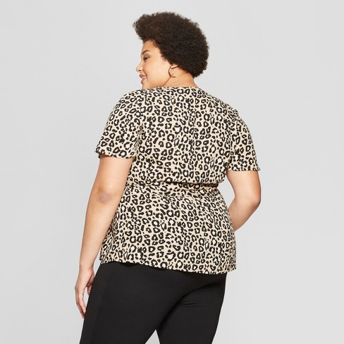 7d27b2969da Women s Plus Size Leopard Print Short Sleeve V-Neck Wrap Top - Ava   Viv™  Tan   Target