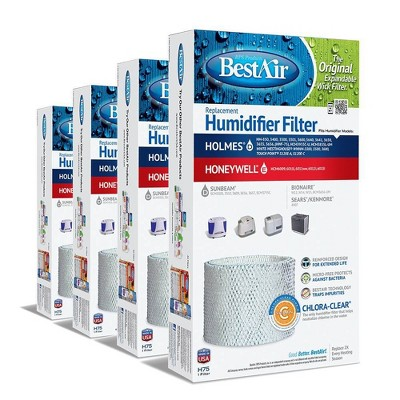 BestAir 4pk H75 Humidifier Air Control Filter for Holmes and Honeywell