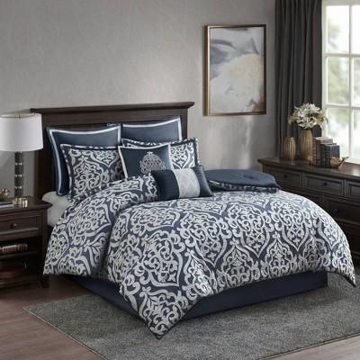 King Eliot 8pc Jacquard Comforter Set - Navy