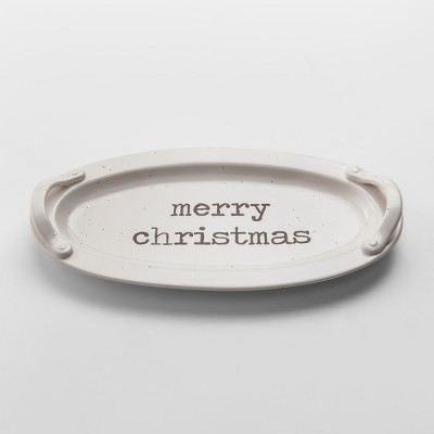16.3  x 8.5  Stoneware Merry Christmas Serving Tray With Handles White - Threshold™
