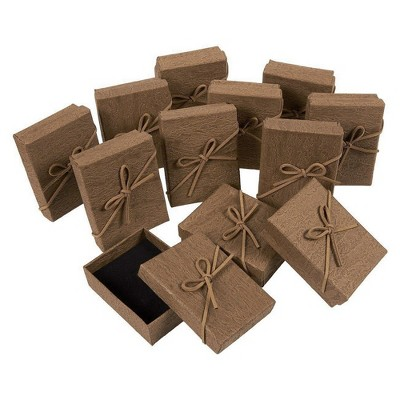 Juvale Gift Box Set 12-Piece Jewelry Gift Boxes for Rings Pendants Necklaces Ideal for Anniversaries Weddings Birthdays Brown 3.6 x 1 x 2.7 Inches
