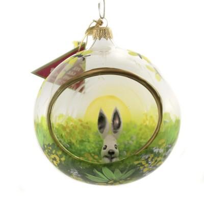 "Morawski 4.5"" Silver Grey Bunny In Diorama Ornament Easter Spring Rabbit  -  Tree Ornaments"