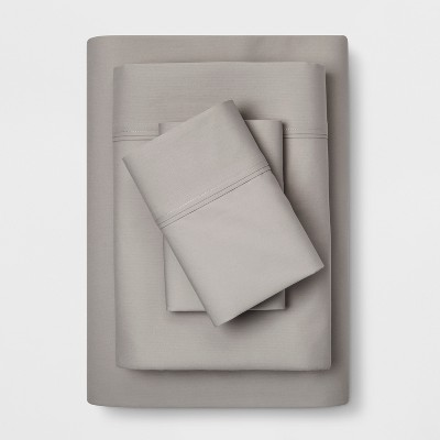 King 300 Thread Count Solid Organic Sheet Set Light Gray - Threshold™