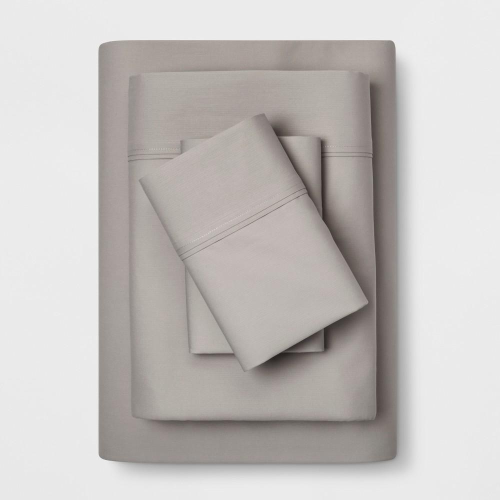 Twin 300 Thread Count Solid Organic Sheet Set Light Gray - Threshold