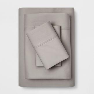 Full 300 Thread Count Solid Organic Sheet Set Light Gray - Threshold™