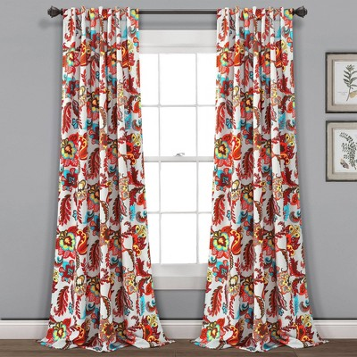 Set of 2 Zara Jacobean Back Tab Rod Pocket Room Darkening Window Curtain Panels - Lush Décor