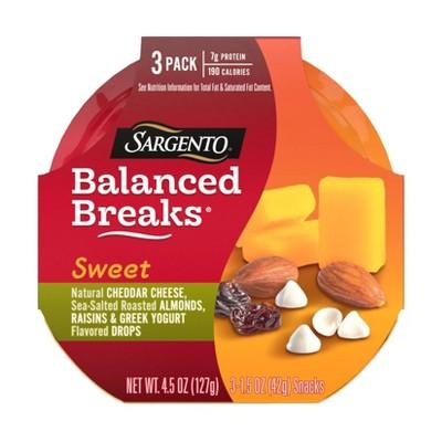 Sargento Sweet Balanced Breaks Natural Cheddar Cheese, Sea-Salted Roasted Almonds, Raisins and Greek Yogurt Flavored Drops - 3pk