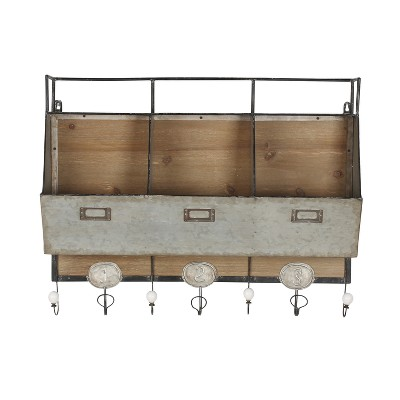 Wall Shelf Tin with 3 Hooks - Gray