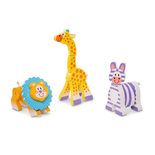 Melissa & Doug First Play Set of 3 Safari Animal Wooden Grasping Toys image number null