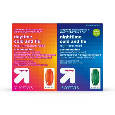 Day/Night Multi -Symptom Cold & Flu Relief Combo Pack Softgels 48ct - Up&Up™ - image 1 of 4