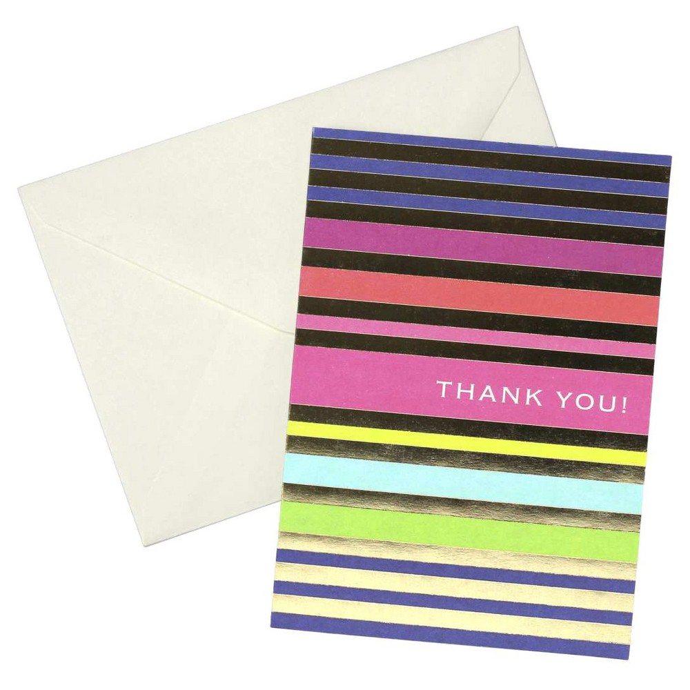 Image of 24ct Metallic Stripes Thank You Cards