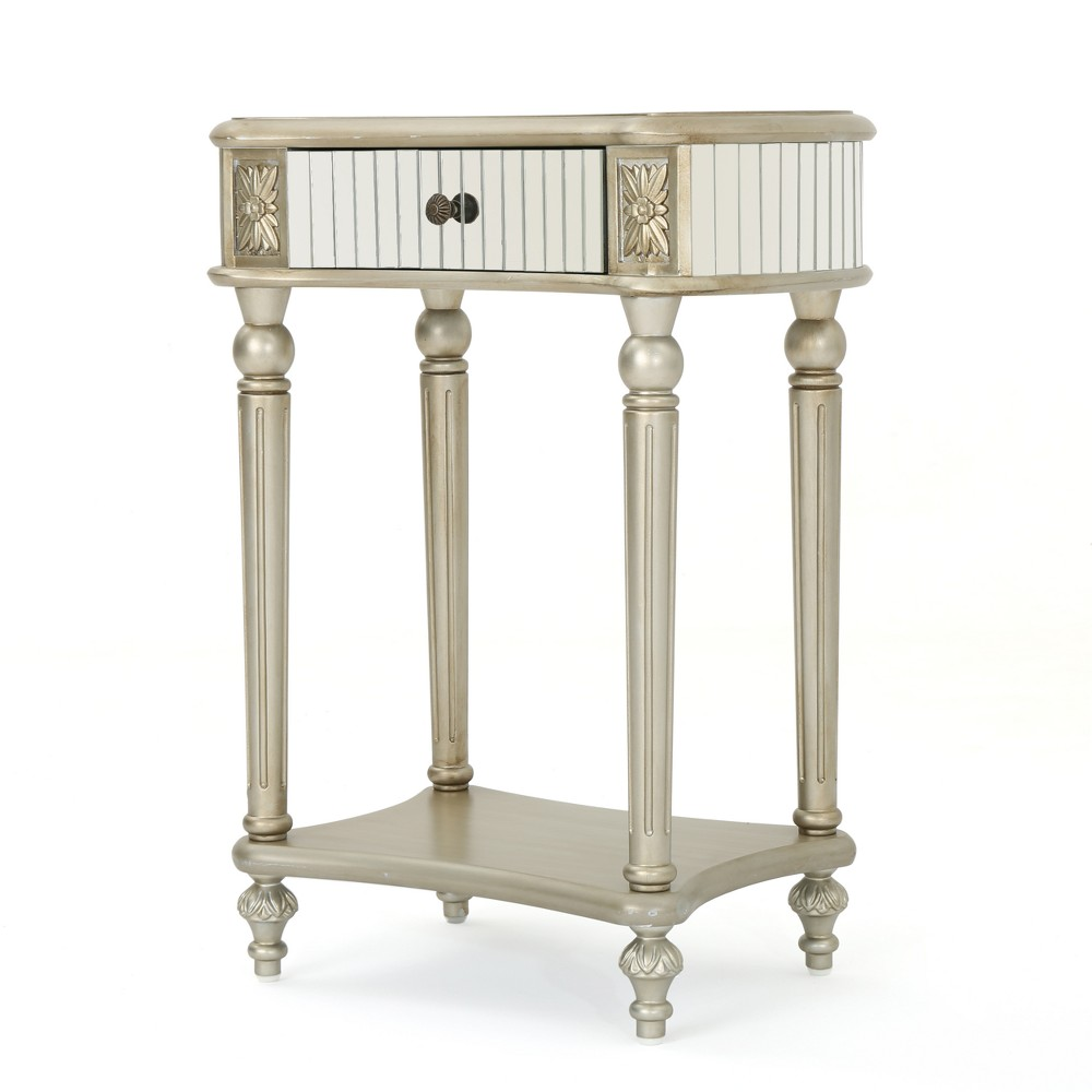 Kakia Mirrored Side Table Silver - Christopher Knight Home