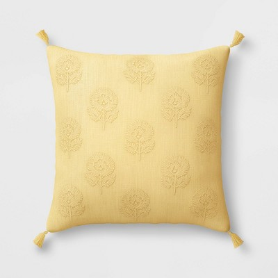 """18""""x18"""" Embroidered Floral Square Throw Pillow with Tassels Yellow - Threshold™"""