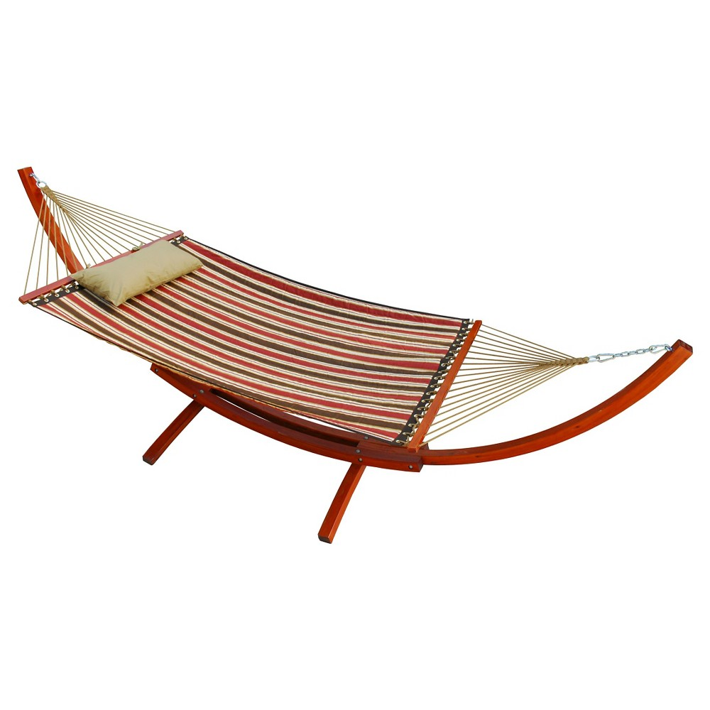 Image of 12 Foot Wooden Arc Frame with Quilted Hammock and Matching Pillow, Brown