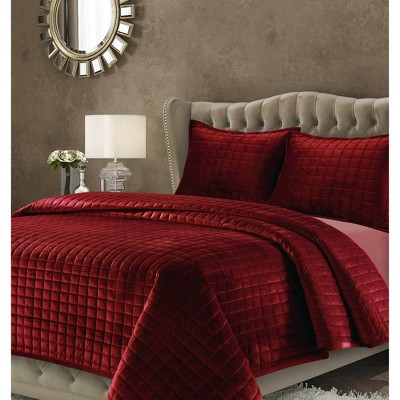 3pc Queen Florence Velvet Oversized Quilt Set Burgundy - Tribeca Living