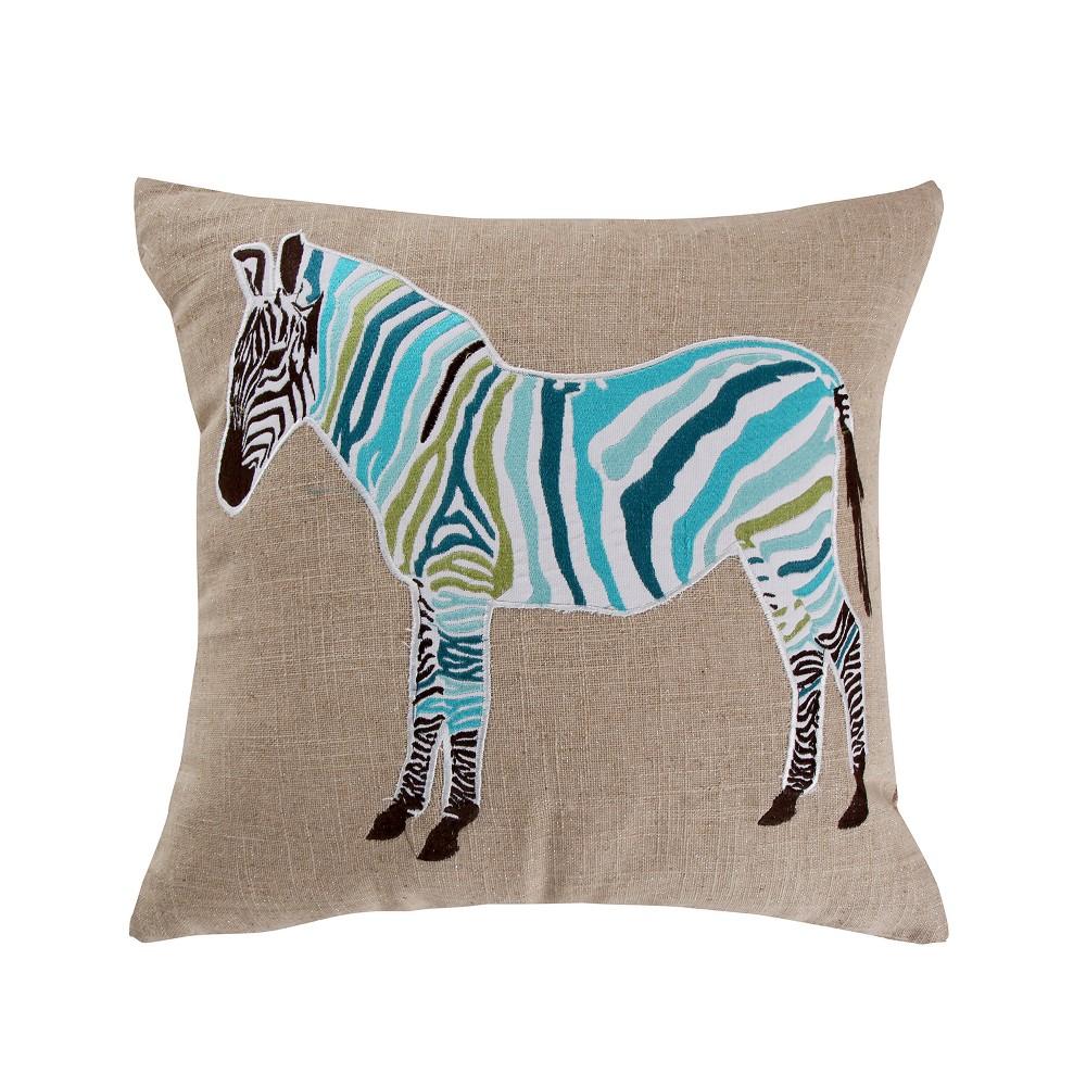 Image of 20x20 Monika Zebra Burplap Pillow Teal - Mudhut