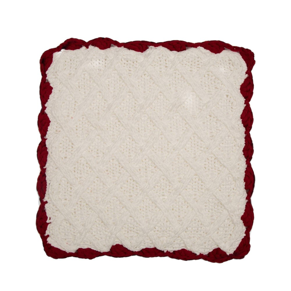 "Image of ""18"""" Knitted Polyester Pillow Cover with Red Trim & PomPom White - Glitzhome"""
