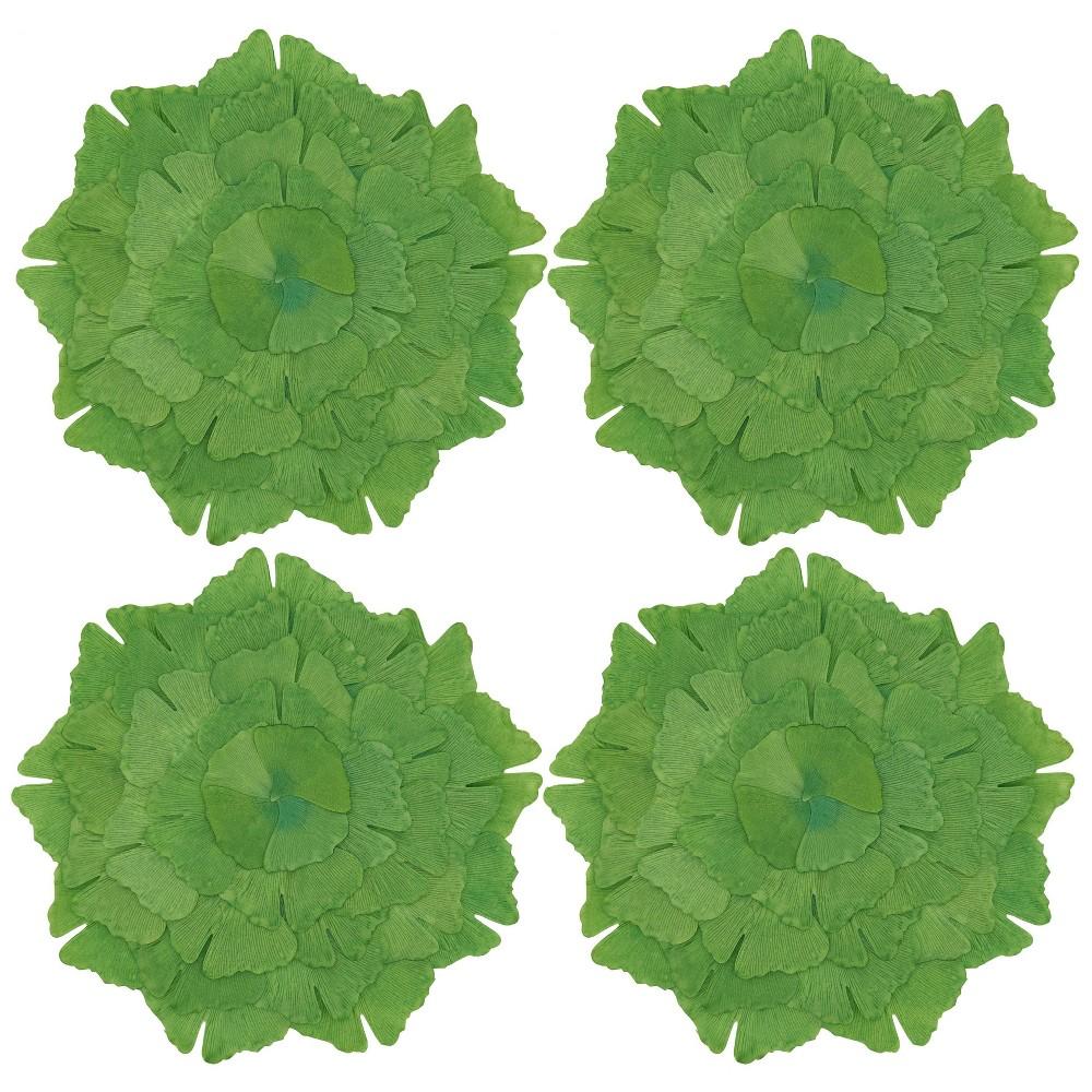 Image of 4pk Polyester Ginko Leaf Print Placemats Green - Saro Lifestyle